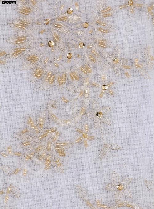 Tül Üzeri Çiçek Desenli Boncuklu Gold Abiyelik Kumaş - K5416