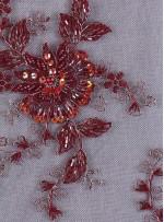 Çiçek Desenli Eteği Sulu Boncuklu Bordo Abiyelik Kumaş - K5420