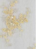 Çiçek Desenli Eteği Sulu Boncuklu Gold Abiyelik Kumaş - K5420