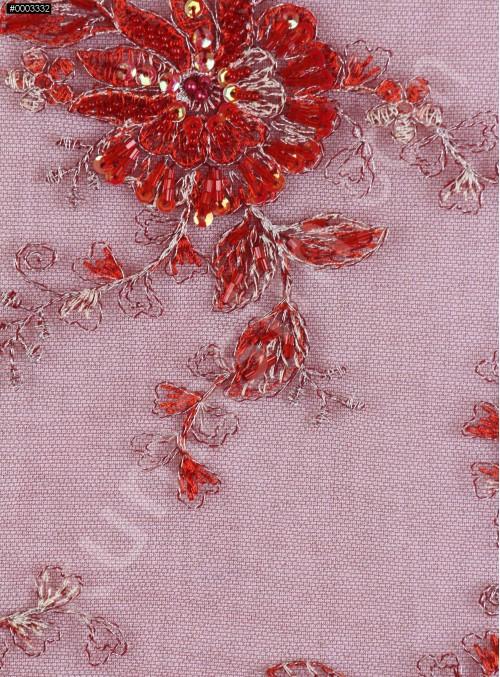 Çiçek Desenli Eteği Sulu Boncuklu Kırmızı Abiyelik Kumaş - K5420