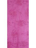 Organze Üzeri Çiçek Desenli Boncuklu Fuşya Kumaş - K5436