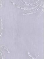 Organze Üzeri Çiçek Desenli Boncuklu Kemik Kumaş - K5436