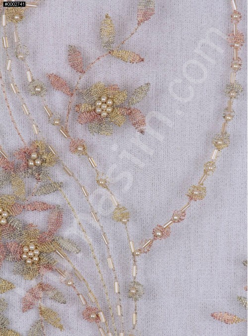 Nakış Üzeri Boncuklu Çiçek Desenli Gold Abiyelik Kumaş - K5444
