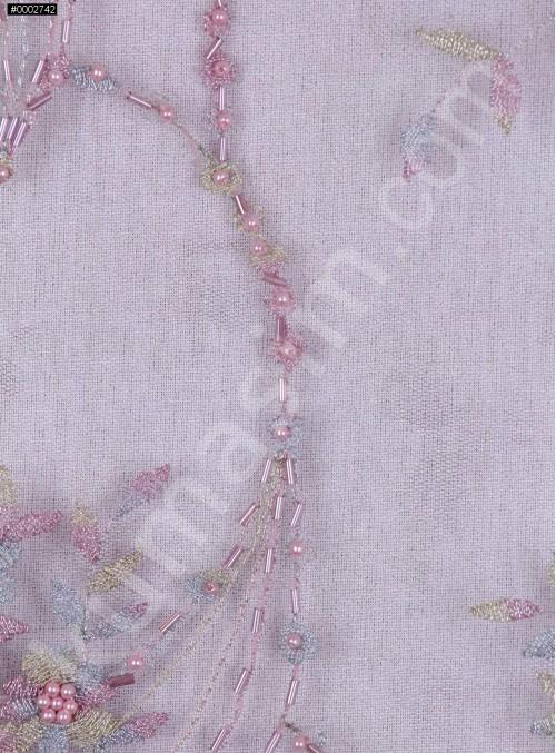 Nakış Üzeri Boncuklu Çiçek Desenli Lila Abiyelik Kumaş - K5444