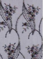 Nakış Üzeri Boncuklu Çiçek Desenli Siyah Abiyelik Kumaş - K5444