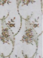 Nakış Üzeri Boncuklu Çiçek Desenli Yeşil Abiyelik Kumaş - K5444