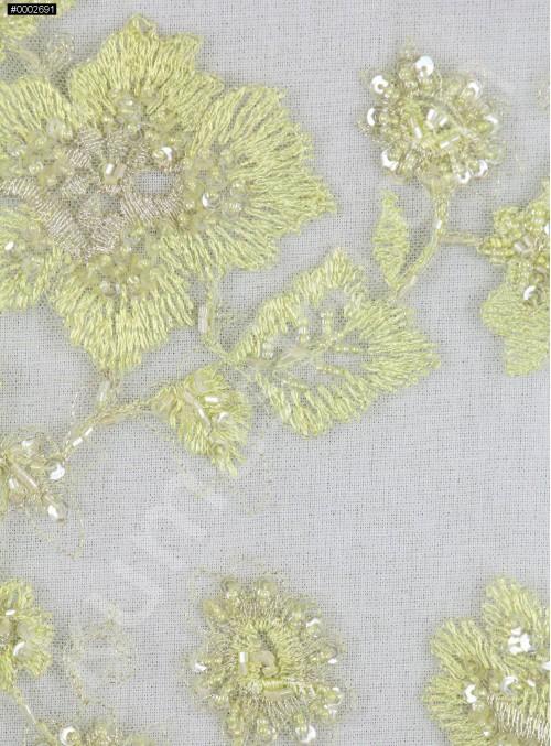 Nakış Üzeri Nişanlık Boncuklu Yeşil Abiyelik Kumaş - K5445