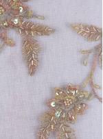 Eteği Sulu Boncuklu Gold Kumaş - K5446