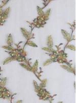 Eteği Sulu Boncuklu Yeşil Kumaş - K5446