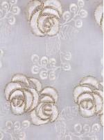 Gül Desenli Kemik Boncuklu Abiyelik Kumaş - K5448