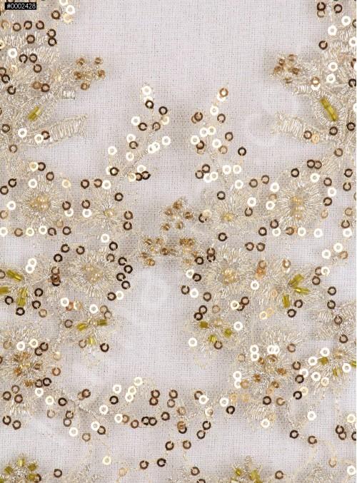 Eteği Dilimli Gold Boncuklu Kumaş - K5455