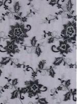 Eteği Sulu Siyah Boncuklu Kumaş - K5456