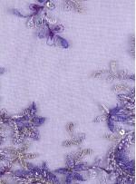 Çiçek Desenli Kenarı Dilimli Nişanlık Mor Boncuklu Abiyelik Kumaş - K5460