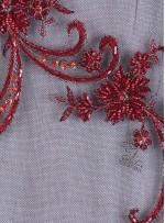 Eteği Sulu Bordo Nişanlık Boncuklu Abiyelik Kumaş - K5462