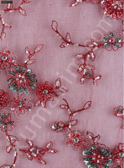 Tül Üzeri Çiçek Desenli - Boncuklu Bordo Abiyelik Kumaş - K5463
