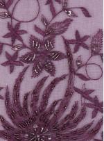 Çiçekli Eteği Sulu Nakışlı Koyu Mor Nişanlık Boncuklu Abiye Kumaş - K5466