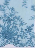 Çiçekli Eteği Sulu Nakışlı Petrol Nişanlık Boncuklu Abiye Kumaş - K5466