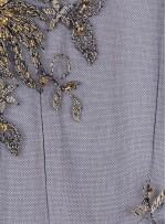 Çiçekli Eteği Sulu Nakışlı Siyah Gold Nişanlık Boncuklu Abiye Kumaş - K5466