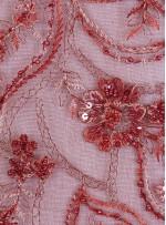 Çiçek Desenli Boncuklu Fuşya Abiyelik Kumaş - K5468