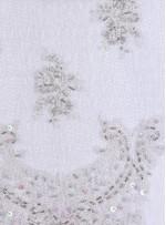 Gümüş Boncuklu Eteği Sulu Abiyelik Kumaş - K5471