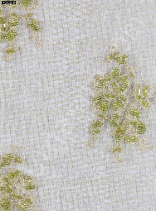 Yeşil Boncuklu Eteği Sulu Abiyelik Kumaş - K5471