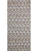Yaprak Desenli Camel Boncuklu Abiyelik Kumaş - K5472