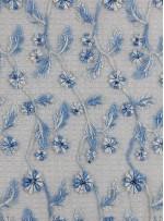 Yaprak Desenli Mavi Boncuklu Abiyelik Kumaş - K5472
