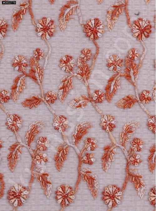 Yaprak Desenli Turuncu Oranj Boncuklu Abiyelik Kumaş - K5472