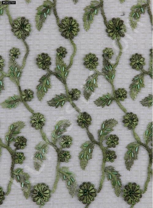 Yaprak Desenli Yeşil Boncuklu Abiyelik Kumaş - K5472