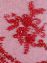 Eteği Sulu Boncuklu ve Payetli Kırmızı Nişanlık Abiye Kumaş - K5474