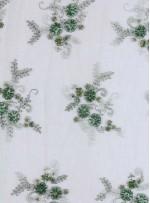 Eteği Sulu Boncuklu ve Payetli Yeşil Nişanlık Abiye Kumaş - K5474