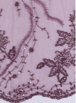 Eteği Sulu Nişanlık Boncuklu Payetli Vişne Çürüğü Abiye Kumaş - K5476