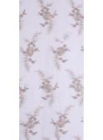 Çiçek Desenli Eteği Sulu Nişanlık Boncuklu Abiye Kumaş - Lila - K5482