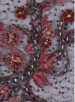 Eteği Sulu Boncuk ve Payetli Nakışlı Bordo Elbiselik Kumaş - K5490
