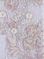 Eteği Sulu Boncuk ve Payetli Nakışlı Kemik Elbiselik Kumaş - K5490