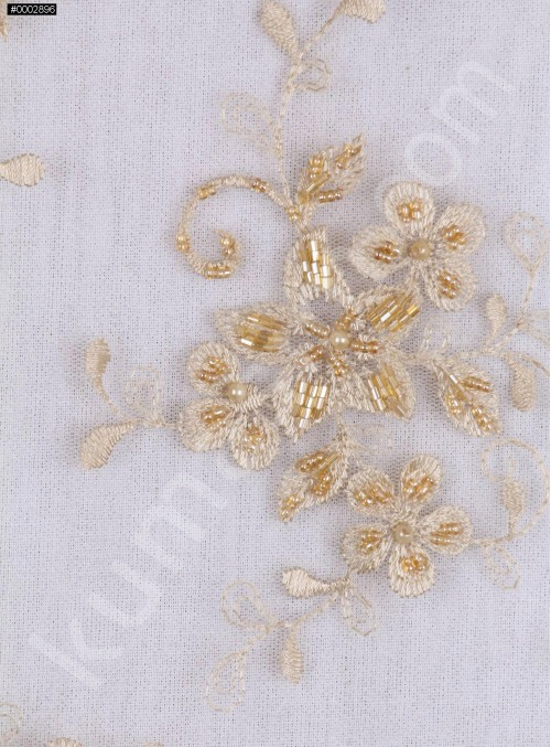 Eteği Sulu Boncuklu Abiyelik Kumaş - K5493
