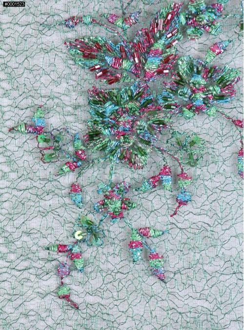 Rengarenk Aplike Desenli Eteği Sulu Boncuklu Yeşil Abiye Kumaş - K5498