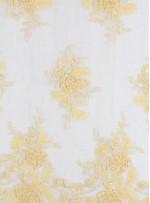 Eteği Sulu Aplike Kesilebilir Sarı Boncuklu Kumaş - K5499
