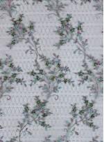 File Tül Üzeri Nakışlı ve Boncuklu Nişanlık Yeşil Abiye Kumaş - K5502