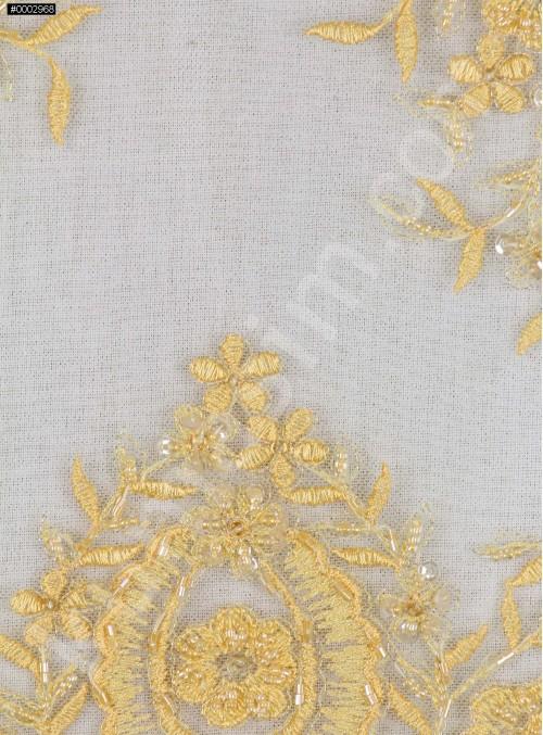 Aplike Desenli Eteği Sulu Nişanlık Boncuklu Gold Abiye Kumaş - K5504