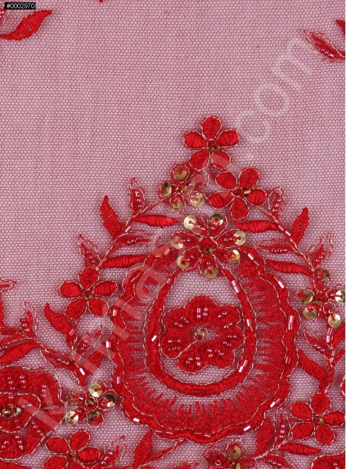 Aplike Desenli Eteği Sulu Nişanlık Boncuklu Kırmızı Abiye Kumaş - K5504