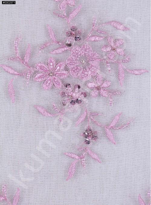 Aplike Desenli Eteği Sulu Nişanlık Boncuklu Lila Abiye Kumaş - K5504