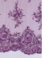 Aplike Desenli Eteği Sulu Nişanlık Boncuklu Mor Abiye Kumaş - K5504
