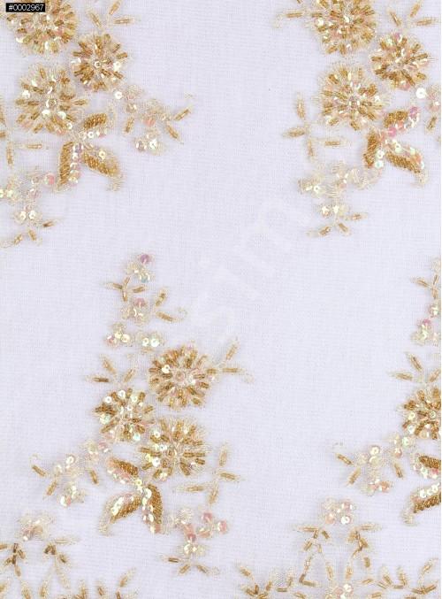 Eteği Sulu Nişanlık Boncuklu Gold Abiye Kumaş - K5505