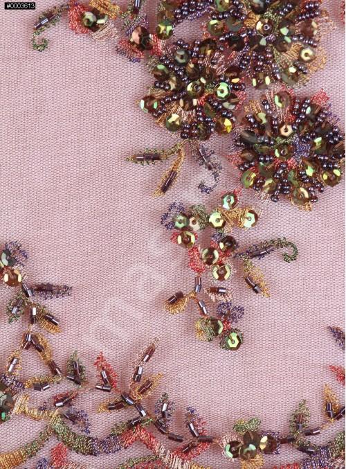 Eteği Sulu Nişanlık Boncuklu Kahverengi Abiye Kumaş - K5505