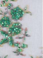 Eteği Sulu Nişanlık Boncuklu Yeşil Abiye Kumaş - K5505