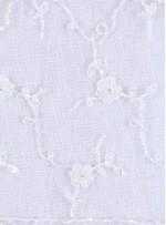Kenar Dilimli Gelinlik Boncuklu Beyaz Dantel Kumaş - K5607