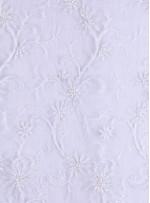 Çiçek Desenli Boncuklu ve Payetli Beyaz Gelinlik Kumaş - K5615