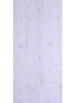 Çiçek Desenli Payetli ve Gold Boncuklu Beyaz Gelinlik Kumaş - K5630