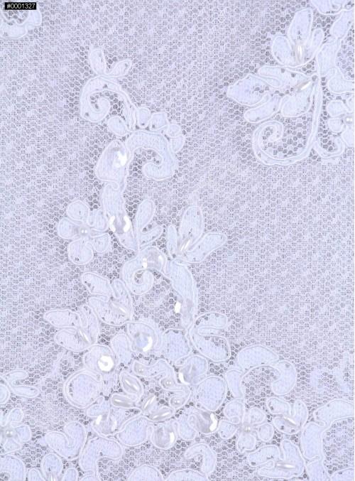 Gelinlik Payetli ve Boncuklu Beyaz Kordoneli Dantel Kumaş - K5638